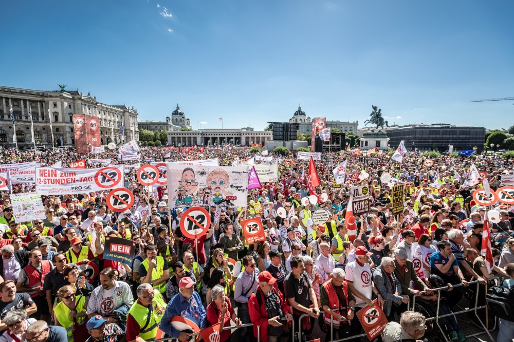 Demonstrace 30. června 2018 ve Vídni
