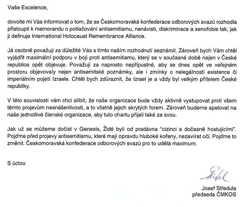 Dopis Josefa Středuly izraelskému velvyslanci v ČR D. Meronovi