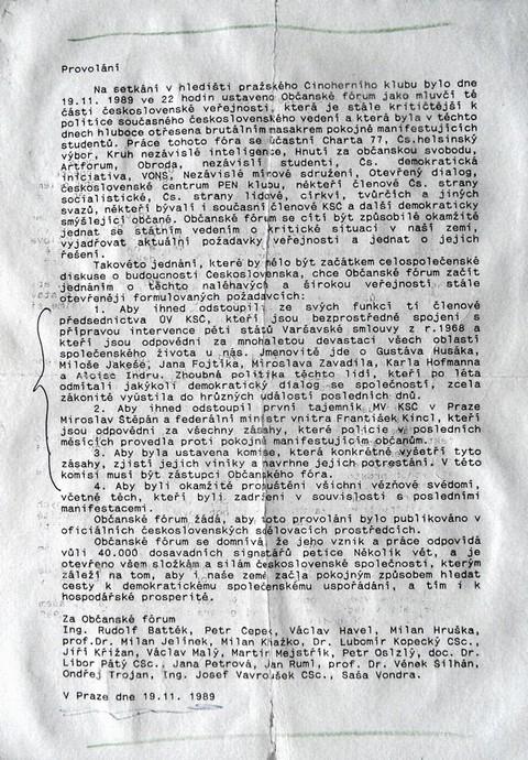 Prohlášení Občanského fóra; Národní archiv