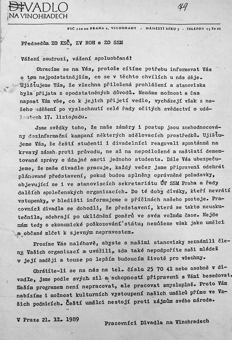 Prohlášení Vinohradského divadla 1; Národní muzeum