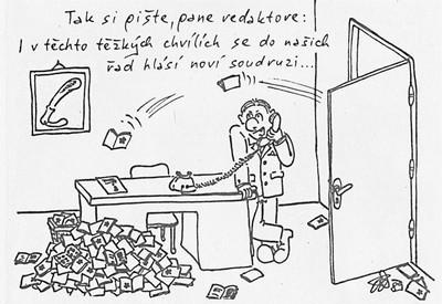 Tak si pište, pane redaktore…, karikatura, Elektron, týdeník koncernového podniku Tesla Rožnov, 20. prosince 1989