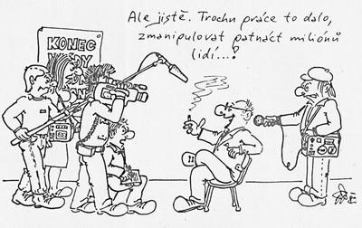 Ale jistě. Trochu práce to dalo…, karikatura; Elektron 20. prosince 1989