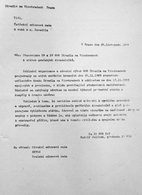 Prohlášení Vinohradského divadla 2; Národní muzeum