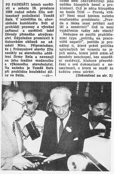 Po padesáti letech navštívil T. Baťa …, Průmyslové stavby. Týdeník zaměstnanců státního podniku Průmyslové stavby Zlín, 9. ledna 1990