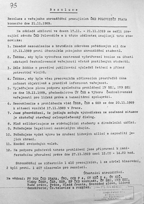 Prohlášení ČKD Polovodiče; Národní muzeum