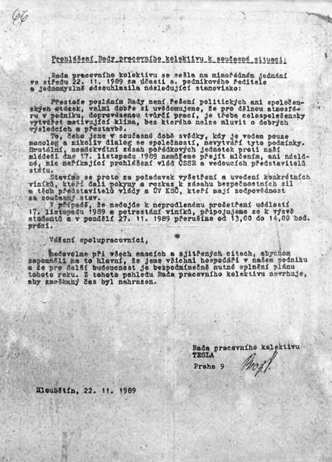 Prohlášení rady pracovního kolektivu Tesly; Národní muzeum