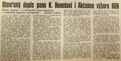Ladislav Velenský, Otevřený dopis panu K. Henešovi i Akčnímu výboru ROH;  Práce 23. prosince 1989
