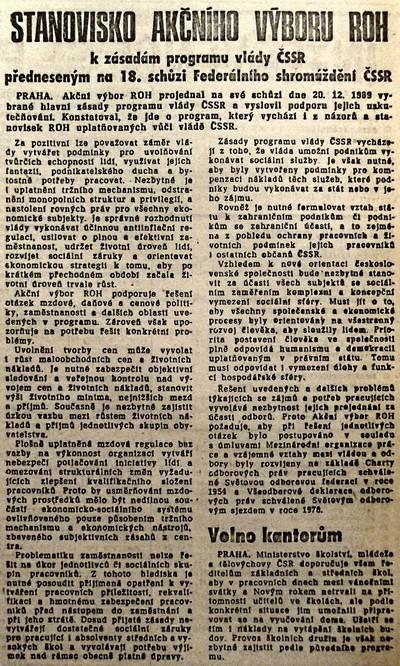 Stanovisko AV ROH k zásadám programu vlády ČSSR předneseným na 18. schůzi FS ČSSR; Práce 23. prosince 1989