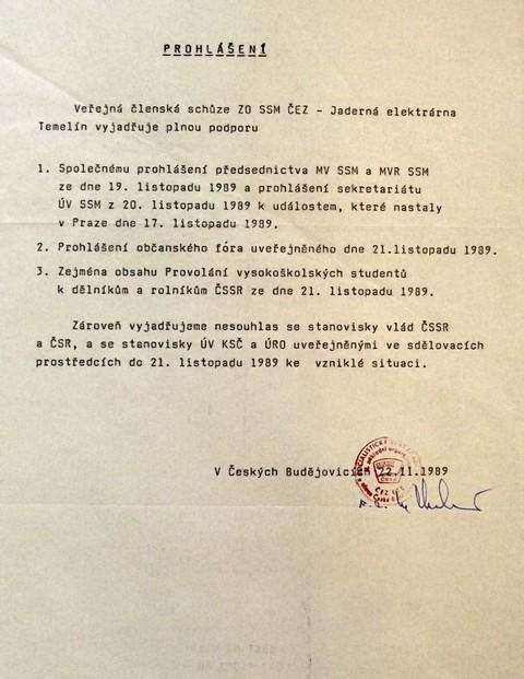 Prohlášení jaderné elektrárny Temelín; Národní muzeum
