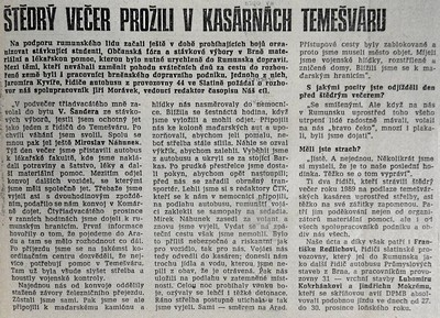 Štědrý večer prožili v kasárnách Temešváru, Dopravák. Časopis dopraváků a silničářů 9. února 1990