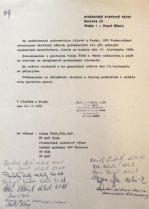 Prohlášení Autoservisu v Jílovém; Národní muzeum