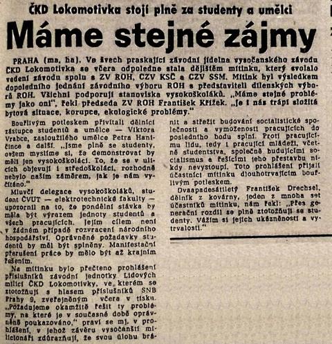 Máme stejné zájmy; Práce 24. listopadu 1989