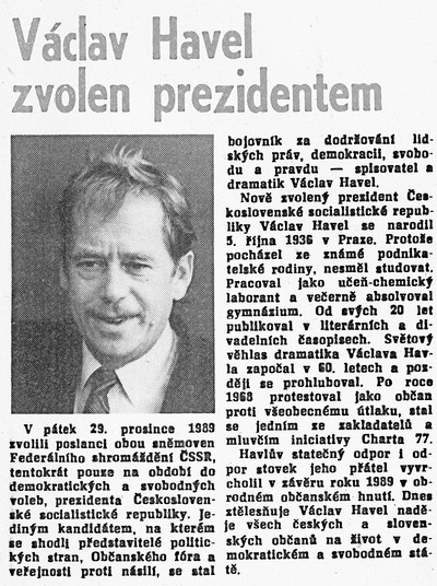Václav Havel zvolen prezidentem; Průmyslové stavby. Týdeník zaměstnanců státního podniku Průmyslové stavby Zlín, 9. ledna 1990