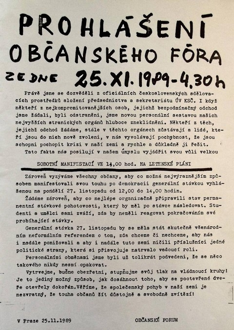 Prohlášení Občanského fóra; Národní muzeum