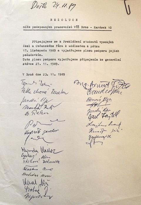 Rezoluce VÚŽ Brno; Národní muzeum