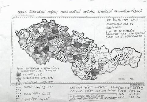 Obraz generální stávky podle hlášení  Sdružení stávkových výborů; Archiv UK