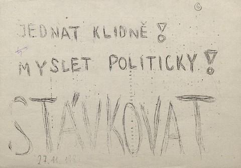 Plakát Myslet politicky…; Archiv UK