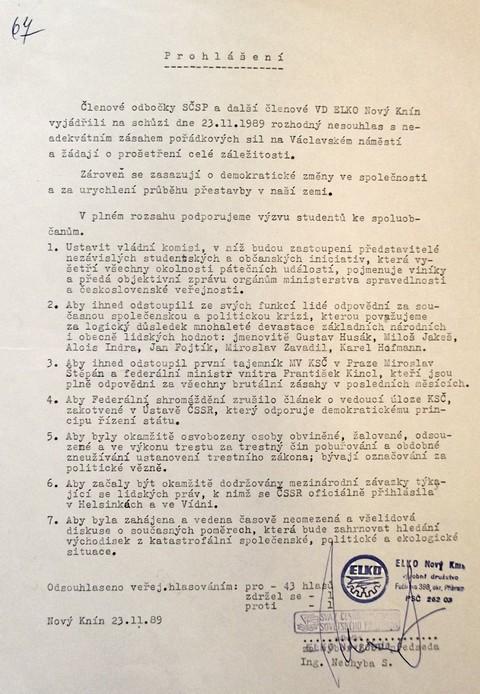 Prohlášení Elko Nový Knín; Národní muzeum