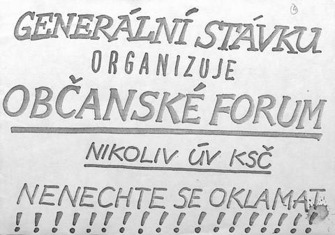 Plakát Generální stávku…; Archiv UK
