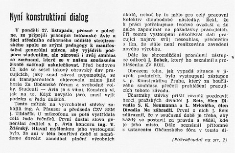 Nyní konstruktivní dialog 1; Dimitrovec 22. prosince 1989
