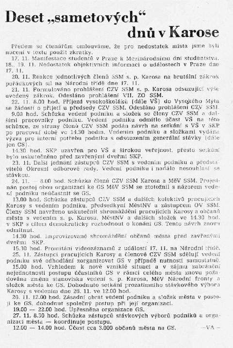 """Deset """"sametových"""" dnů v Karose; ZČ Karosář 28. prosince 1989"""