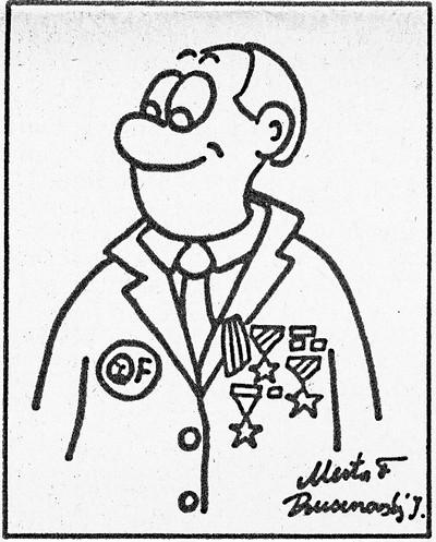 Beze slov, karikatura; Říjnový cíl. Týdeník pracujících státního podniku TOS Kuřim, 31. ledna 1990