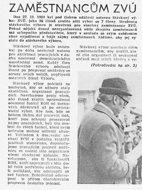 Zaměstnancům ZVÚ 1; ZČ Únorovec, 1. prosince 1989