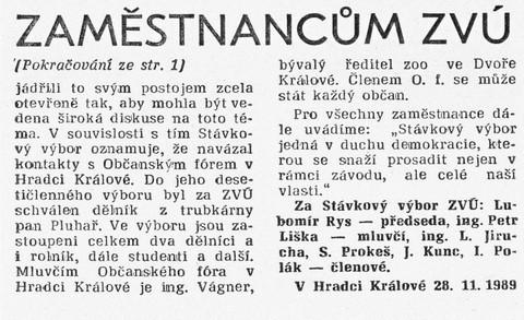 Zaměstnancům ZVÚ 2; ZČ Únorovec, 1. prosince 1989