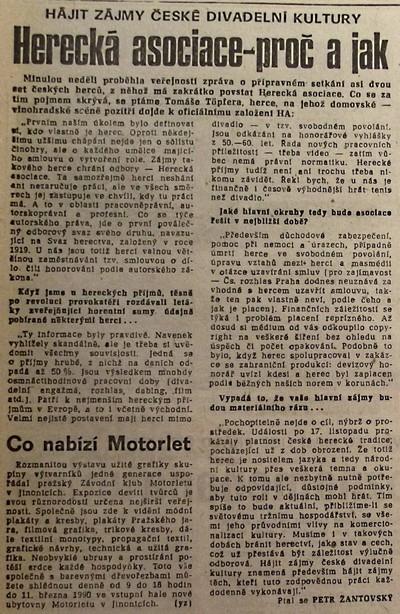 Herecká asociace - proč a jak. Hájit zájmy české divadelní kultury; Práce 9. února 1990