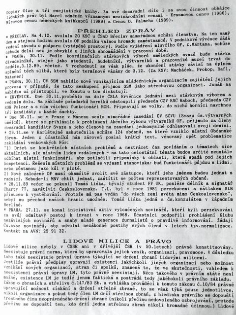Stručný životopis Václava Havla 1; Informační servis č. 13, Národní archiv