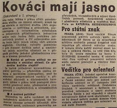 Kováci mají jasno. Rozhovor Práce s Igorem Pleskotem, předsedou ČsOS pracovníků kovoprůmyslu 2; Práce 20. února 1990