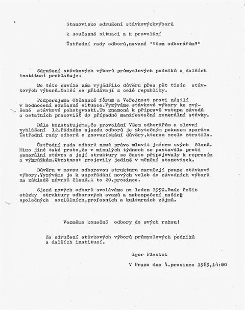 Stanovisko Sdružení stávkových výborů k současné situaci a k provolání ÚRO nazvané Všem odborářům!; Všeodborový archiv ČMKOS