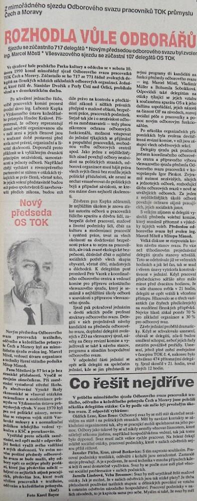 Rozhodla vůle odborářů, TOK.Noviny odborářů v textilním, oděvním a kožedělném průmyslu v ČSSR, č. 3, březen 1990