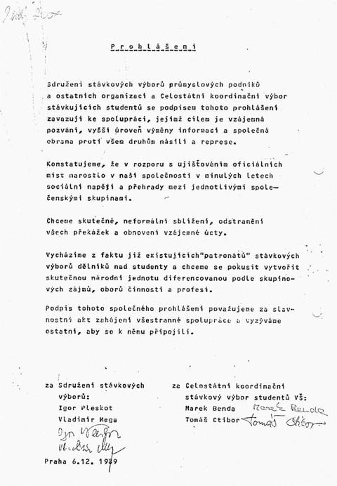 Prohlášení Sdružení stávkových výborů a Celostátního koordinačního výboru stávkujících studentů; Všeodborový archiv ČMKOS