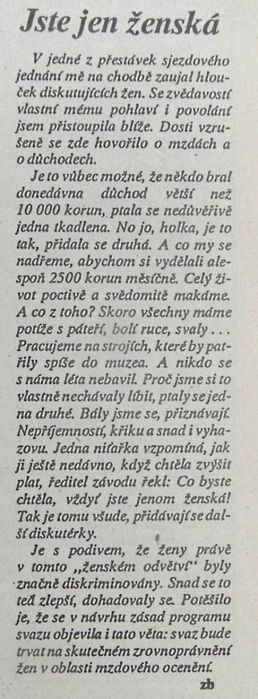 Jste jen ženská, TOK č. 3, březen 1990