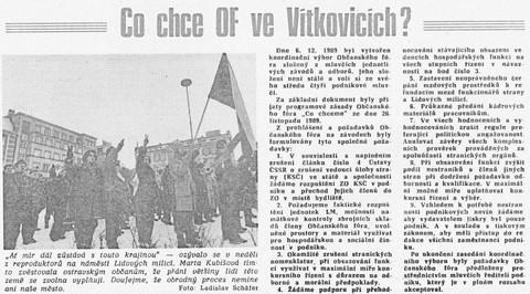 Co chce OF ve Vítkovicích; Jiskra, týdeník Vítkovických železáren a strojíren Klementa Gottwalda, 13. prosince 1989