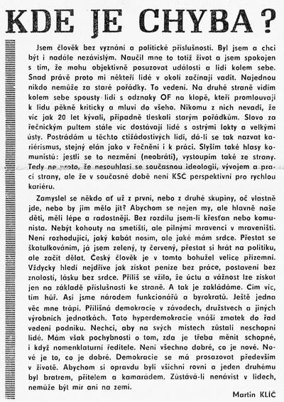 Kde je chyba, Průkopník. Časopis zaměstnanců ČKD Blansko, závody Jiřího Dimitrova 14. února 1990