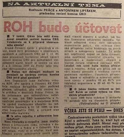 ROH bude účtovat. Rozhovor Práce s Ant. Liptákem, předsedou revizní komise ÚRO 1; Práce 15. února 1990