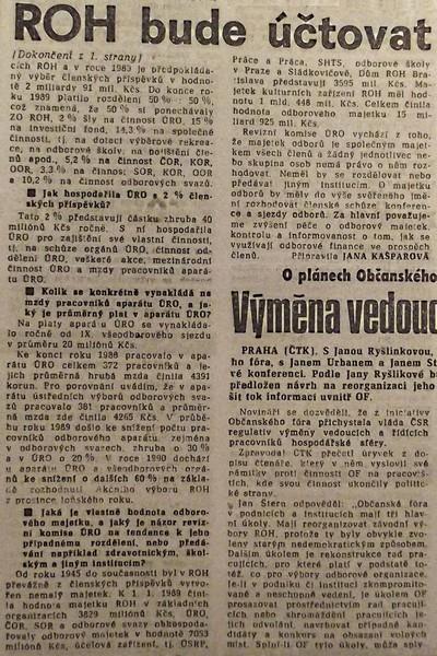 ROH bude účtovat. Rozhovor Práce s Ant. Liptákem, předsedou revizní komise ÚRO 2; Práce 15. února 1990