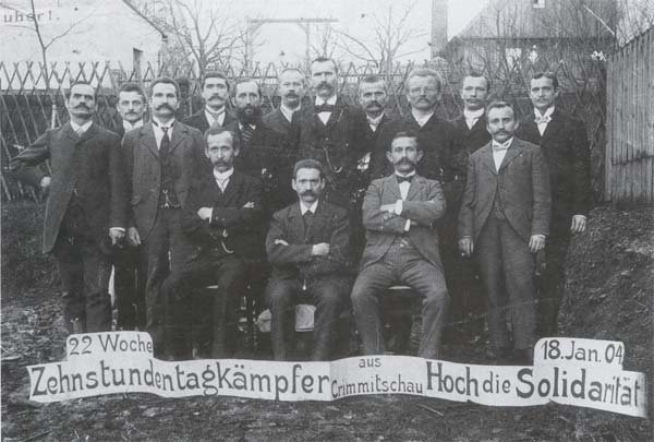 Bojovníci za desetihodinovou pracovní dobu z Crimmitschau, 1904.