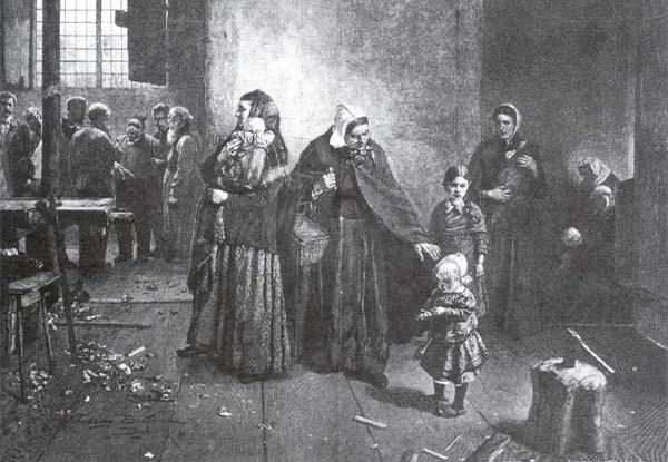 Dělnická stávka, dřevoryt podle obrazu Christiana Ludwiga Bokelmanna, 2. polovina 19. století.